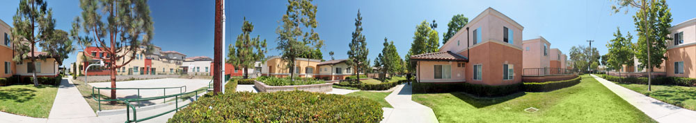 Panorama of Family Commons at Century Villages at Cabrillo
